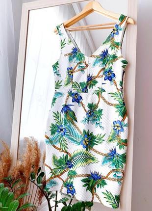Фактурное платье в цветочный принт на лето amisu сукня в квіти