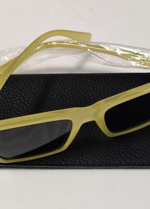 Очки topman  приглушенно лимонно-желтые прямоугольной формы4 фото