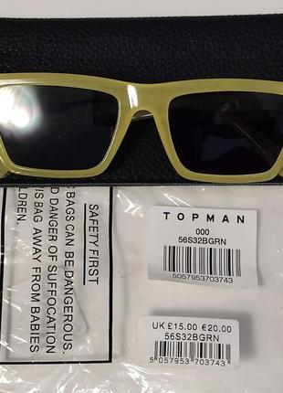 Очки topman  приглушенно лимонно-желтые прямоугольной формы5 фото