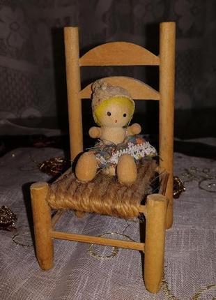Миниатюрный деревянный статуэтка стульчик для декора hand made