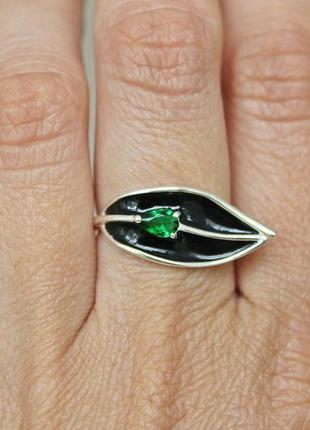 Серебряное кольцо туна эмаль р.17,5