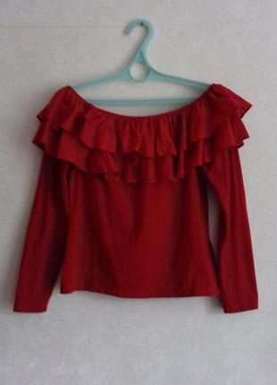Хлопковая трикотажная блузка /кофточка с рюшами /блуза