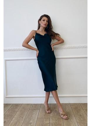 Шелковое платье-миди в бельевом стиле с открытой спинкой