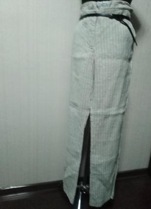 Брюки палацо с карманами  в полоску