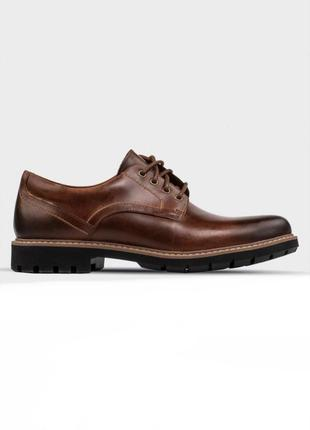 Натур. кожаные стильные туфли на тракторной подошве clarks