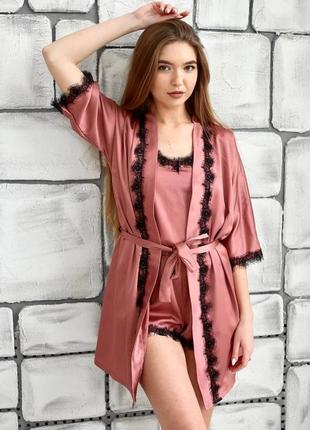 Шелковый набор комплект майка шорты халат с кружевом