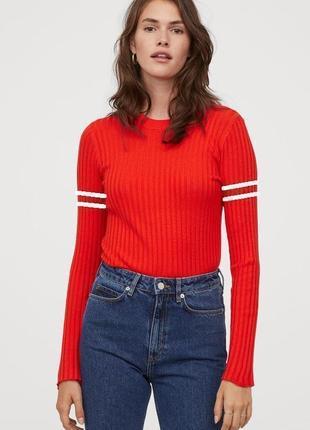 Яркий топ пуловер в рубчик из вискозной ткани h&m размер л