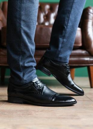 Мужские туфли кожаные весна/осень черные slat 19401 на шнурках