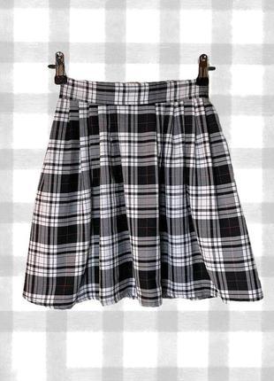 Черно-белая клетчатая теннисная скейтерская юбка (мини юбка в клетку)