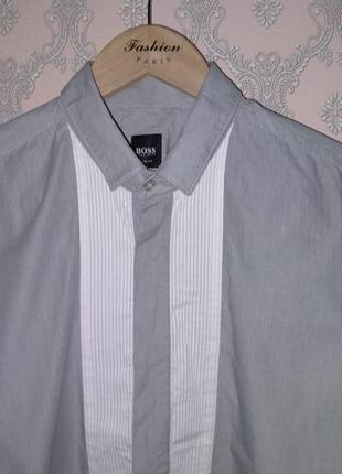 Мужская серая рубашка hugo boss под запонки