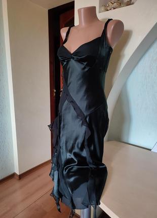 Шикарный шелковый черный вечерний сарафан на стройную фигурку3 фото