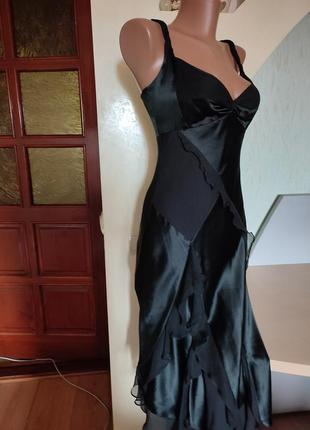 Шикарный шелковый черный вечерний сарафан на стройную фигурку4 фото