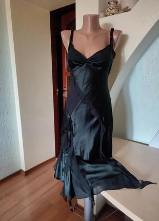 Шикарный шелковый черный вечерний сарафан на стройную фигурку2 фото