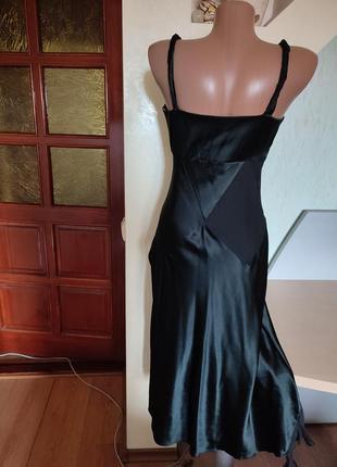 Шикарный шелковый черный вечерний сарафан на стройную фигурку7 фото