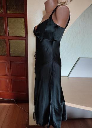 Шикарный шелковый черный вечерний сарафан на стройную фигурку6 фото