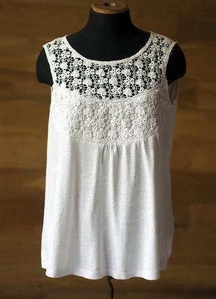 Белая коттоновая блузка топ с кружевом женская esprit, размер m, l