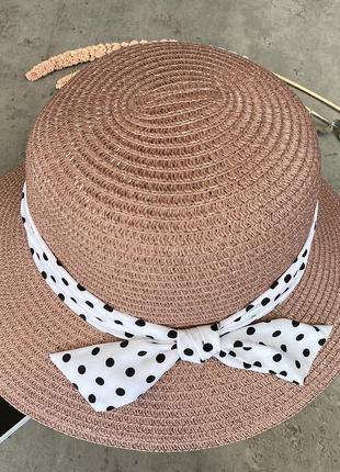 Соломенная шляпа с полями средней ширины lilit в пудровом цвете