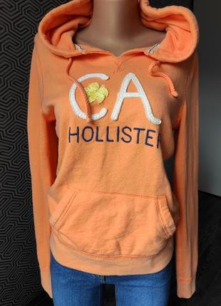 Толстовка ватник свитшот с капюшоном и карманами оранжевая hollister