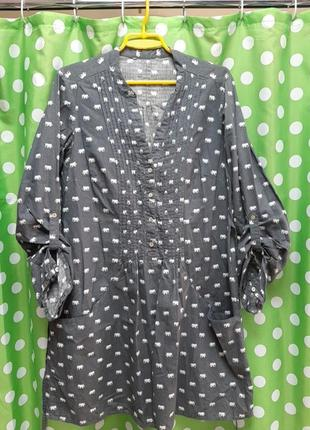 Красивая  удлиненая натуральная рубашка - туника!