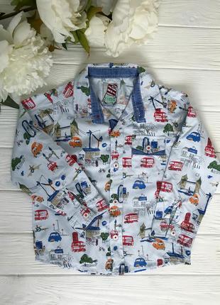 Легкая хлопковая рубашка на мальчика с принтом 92 см/24 м.