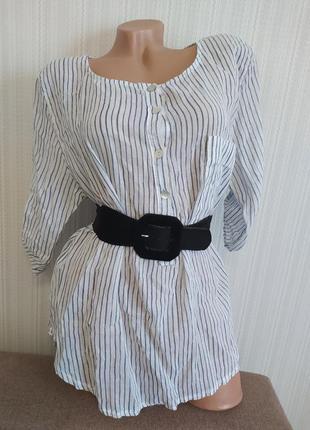 Льняная блузка/туника/рубашка италия
