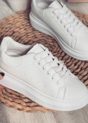 Кеды кроссовки эко кожа белые базовые 3265 спортивные на высокой подошве