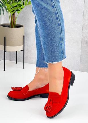 Натуральная замша, яркие модные красные туфли kleon3 фото