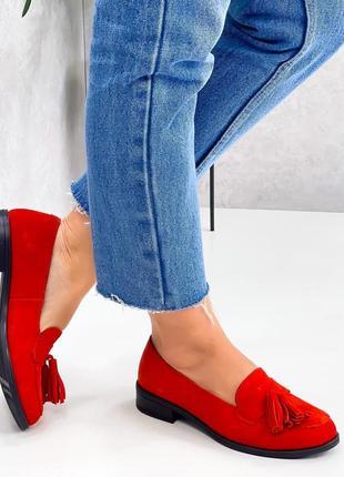 Натуральная замша, яркие модные красные туфли kleon4 фото