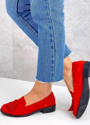 Натуральная замша, яркие модные красные туфли kleon2 фото