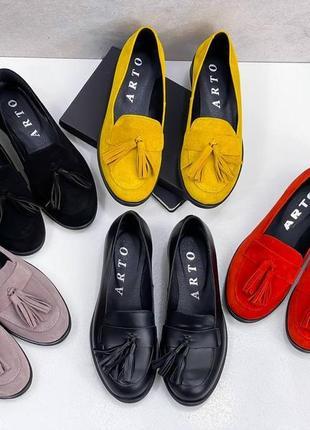 Натуральная замша, яркие модные красные туфли kleon7 фото