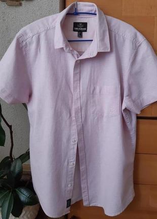 Стильная рубашка известной торговой марки из великобритании threadbare, лен и хлопок