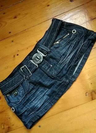 Крутезна джинсова спідничка мега міні