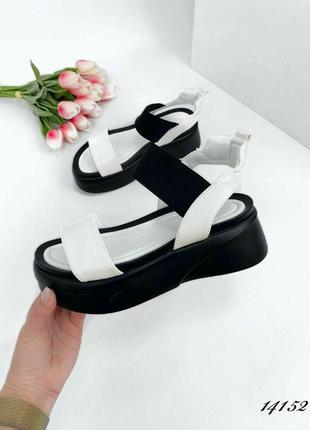Босоножки боссоножки сандалии черные белые на высокой подошве платформе эко кожа