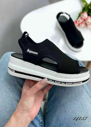 Босоножки боссоножки белые чёрные текстиль лёгкие сандалии
