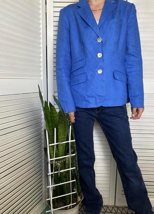 Льняной жакет красивого синего цвета ralph lauren! оригинал!
