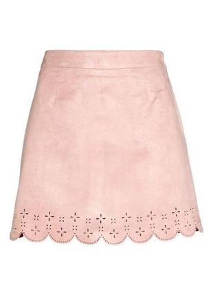 Юбка  с перфорацией розовая пудра