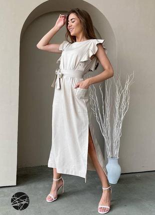 Нюдовое льняное платье миди с поясом