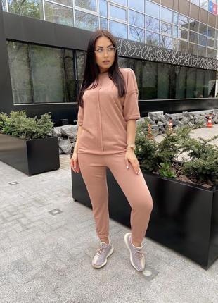 Костюм женский летний со штанами футболкой легкий яркий батал