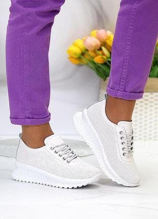 """Шикарные, белые кроссовки """"terra"""" из натуральной кожи"""
