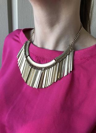 Колье в стиле бохо, ожерелье, подвеска, золотая, 2021, bershka