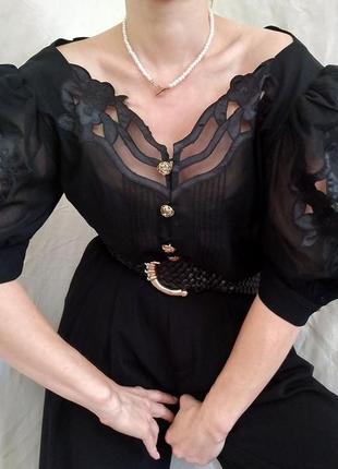 Helene straber/шикарная винтажная блуза с рукавами буфами
