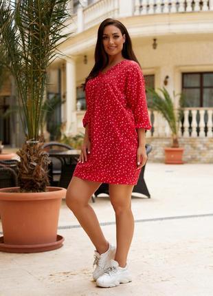 Женская легкая летняя туника из хлопковой ткани, большие размеры, от 48 до 58 (101красн)