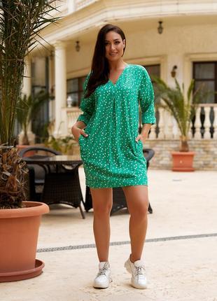 Женская легкая летняя туника из хлопковой ткани, большие размеры, от 48 до 58 (101зелёный)