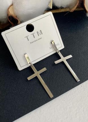Сережки хрести срібло, сережки з хрестиками медичний сплав xuping, серьги крестики медсплав