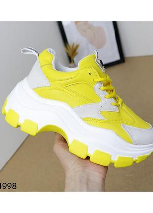 Жёлтые кроссовки,кроссовки,кроссовки на массивной танкетке,кроссовки массивные
