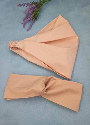 Комплект хлопок косынка на резинке бандана повязка чалма