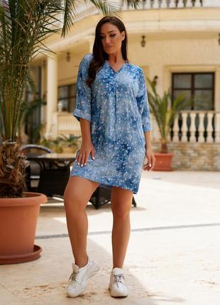 Женская легкая летняя туника из хлопковой ткани, большие размеры, от 48 до 58 (102голубой)