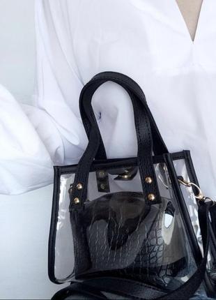 Прозрачная силиконовая сумка с косметичкой чёрная