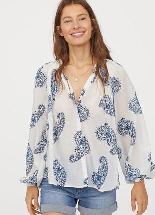 Новая легкая натуральная блуза h&m, хлопок+модал. размер 34