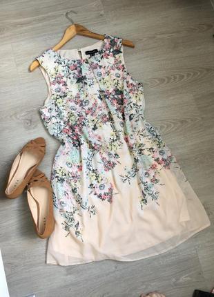 Шикарное шифоновое платье в цветы